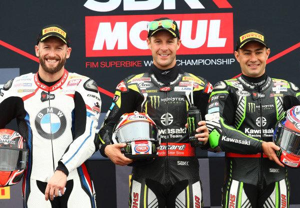 Tom Sykes, BMW Motorrad WorldSBK Team, Jonathan Rea, Kawasaki Racing Team, Leon Haslam, Kawasaki Racing Team.
