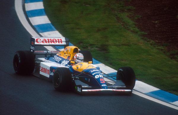 1992 Spanish Grand Prix.Catalunya, Barcelona, Spain.1-3 May 1992.Nigel Mansell (Williams FW14B Renault) 1st position.Ref-92 ESP 13.World Copyright - LAT Photographic