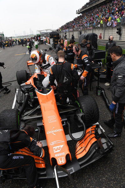 Stoffel Vandoorne (BEL) McLaren MCL32 on the grid at Formula One World Championship, Rd2, Chinese Grand Prix, Race, Shanghai, China, Sunday 9 April 2017.