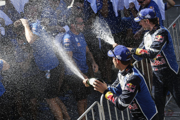 Rally winners Andreas Mikkelsen (NOR) / Anders Jaeger Synnevag (NOR), Volkswagen Motorsport II WRC celebrate on the podium with the champagne at FIA World Rally Championship, Rd13, Rally Australia, Day Three, Coffs Harbour, New South Wales, Australia, 20 November 2016.