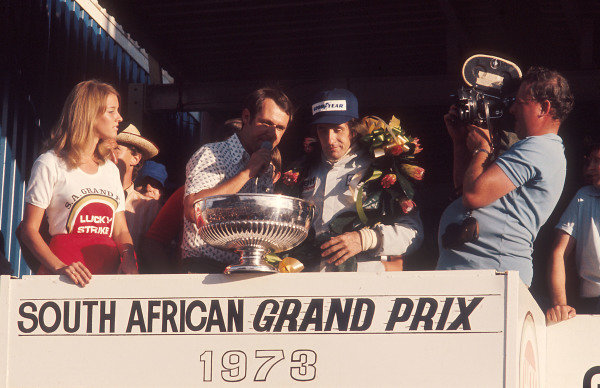1973 South African Grand Prix.Kyalami, South Africa.1-3 March 1973.Jackie Stewart (Tyrrell Ford) 1st position on the podium.Ref-73 SA 46.World Copyright - LAT Photographic