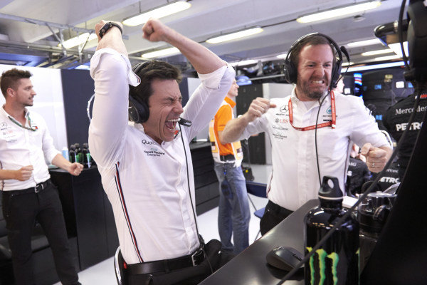 Toto Wolff, Executive Director (Business), Mercedes AMG, celebrates victory