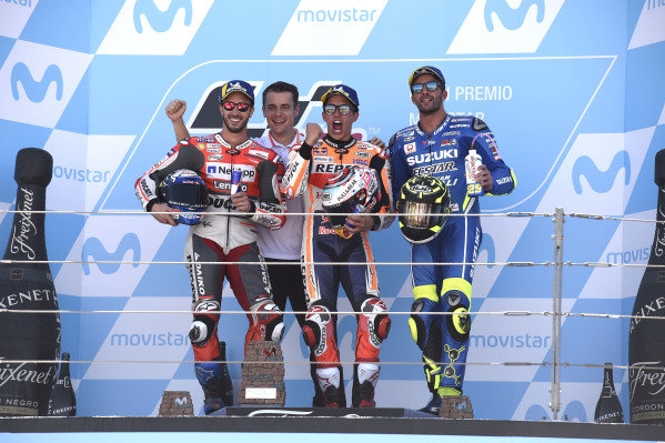 Podium: race winner Marc Marquez, Repsol Honda Team, second place Andrea Dovizioso, Ducati Team, third place Andrea Iannone, Team Suzuki MotoGP