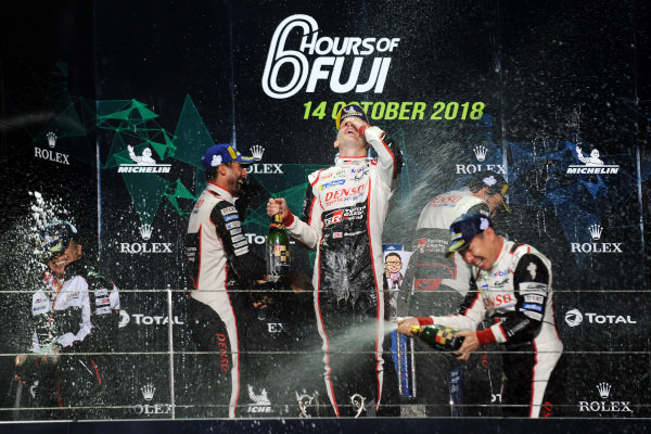 P1 Podium, #8 Toyota Gazoo Racing Toyota TS050: Sebastien Buemi, Kazuki Nakajima, Fernando Alonso, #7 Toyota Gazoo Racing Toyota TS050: Mike Conway, Kamui Kobayashi, Jose Maria Lopez