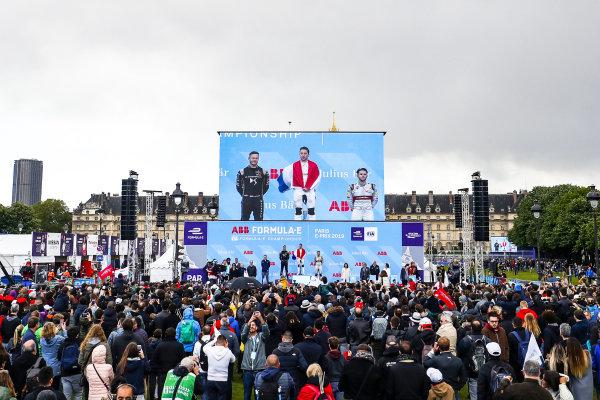 Robin Frijns (NLD), Envision Virgin Racing, 1st position, Andre Lotterer (DEU), DS TECHEETAH, 2nd position, and Daniel Abt (DEU), Audi Sport ABT Schaeffler, 3rd position, on the podium