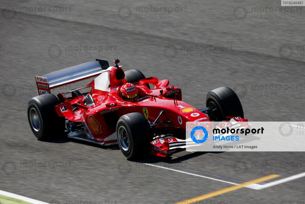 Mick Schumacher in his father's championship winning Ferrari F2004