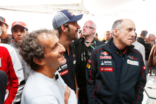 Silverstone, Northamptonshire, England 29th June 2013 Alain Prost with Jean-Eric Vergne, Toro Rosso, and Franz Tost, Team Principal, Toro Rosso World Copyright: Charles Coates/  ref: Digital Image _N7T2580