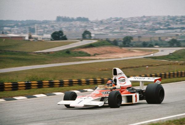 1975 Brazilian Grand Prix  Interlagos, Sao Paulo, Brazil. 24-26th January 1975.  Emerson Fittipaldi, McLaren M23 Ford, 2nd position.  Ref: 75BRA11. World copyright: LAT Photographic