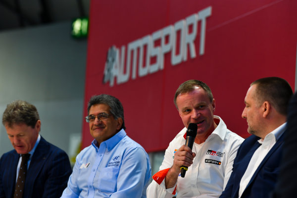 Autosport International Exhibition. National Exhibition Centre, Birmingham, UK. Thursday 11th January 2018. Malcolm Wilson, Michel Nandan, Tommi Makinen and Yves Matton talk to Henry Hope-Frost on the Autosport Stage. World Copyright: Mark Sutton/Sutton Images/LAT Images Ref: DSC_6670