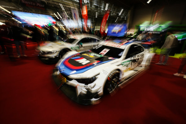 Autosport International Exhibition. National Exhibition Centre, Birmingham, UK. Saturday 13th January 2018. BMW and Mercedes DTM cars on display.World Copyright: James Roberts/JEP/LAT Images Ref: JR2_5439