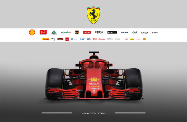FIA Formula 1 World Championship 2018 Ferrari SF71H studio images Low front, head-on, view. Copyright free for Editorial Use Only Credit: Ferrari
