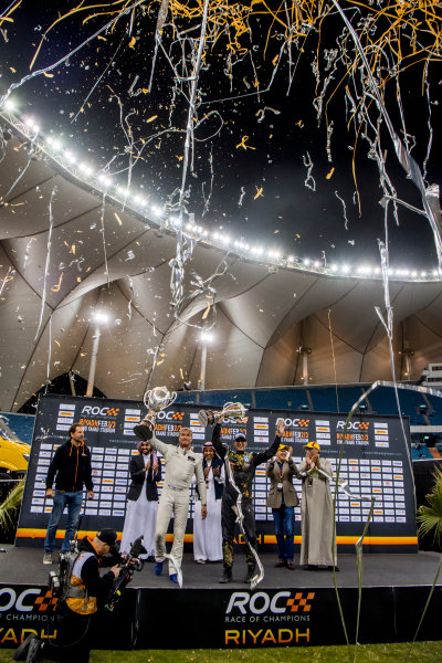 2018 Race Of Champions King Farhad Stadium, Riyadh, Abu Dhabi. Saturday 3 February 2018 Winner David Coulthard (GBR) and runner up Petter Solberg (NOR) celebrate on the podium with Prince Khaled Al Faisal, President of the Motor Federation Of Saudi Arabia and Fredrik Johnsson. Copyright Free FOR EDITORIAL USE ONLY. Mandatory Credit: 'Race of Champions'