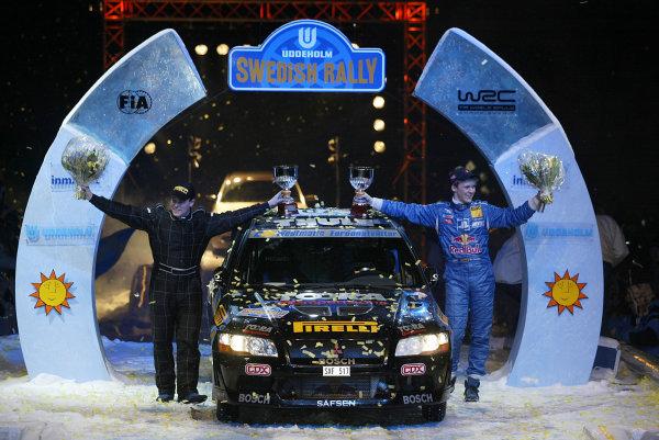 2004 FIA World Rally Champs. Round two, Swedish Rally.5th-8th February 2004.Mattias Ekstrom, Mitsubishi, podium.World Copyright: McKlein/LAT