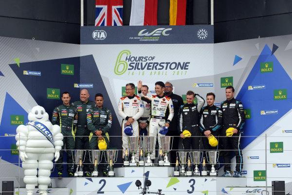 2017 World Endurance Championship, Silverstone, UK. 14th-16th April 2017, GT AM Podium  World Copyright. JEP/LAT Photographic