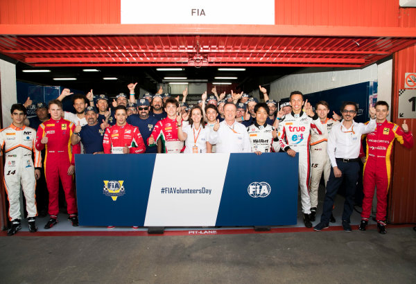 Circuit de Catalunya, Barcelona, Spain. Friday 12 May 2017. Drivers, officials and marshals gather for FIA Volunteers Day, which celebrates the volunteer work of marshals and organisers around the world that make motor racing possible. World Copyright: Steven Tee/LAT Images ref: Digital Image _O3I4226