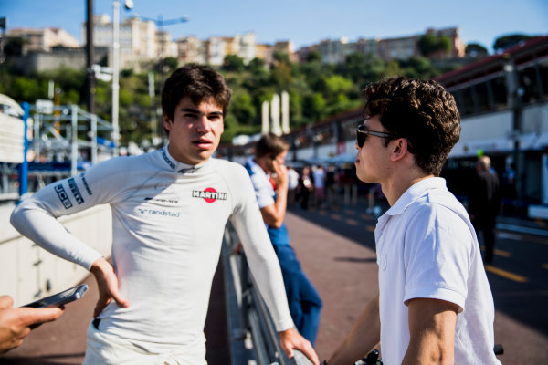 2017 FIA Formula 2 Round 3. Monte Carlo, Monaco. Wednesday 24 May 2017. Nyck De Vries (NED, Rapax) chats with Lance Stroll, Williams. Photo: Zak Mauger/FIA Formula 2. ref: Digital Image _54I4951