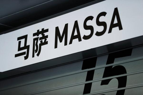 Shanghai International Circuit, Shanghai, China.  Thursday 06 April 2017. Signage above the pit garage of Felipe Massa, Williams Martini Racing.  World Copyright: Glenn Dunbar/LAT Images ref: Digital Image _X4I4806