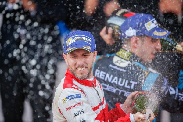 2016/2017 FIA Formula E Championship. Monte-Carlo, Monaco Saturday 13 May 2017. Nick Heidfeld (GER), Mahindra Racing, Spark-Mahindra, Mahindra M3ELECTRO, sprays the champagne on the podium. Photo: Alastair Staley/LAT/Formula E ref: Digital Image _X0W1405