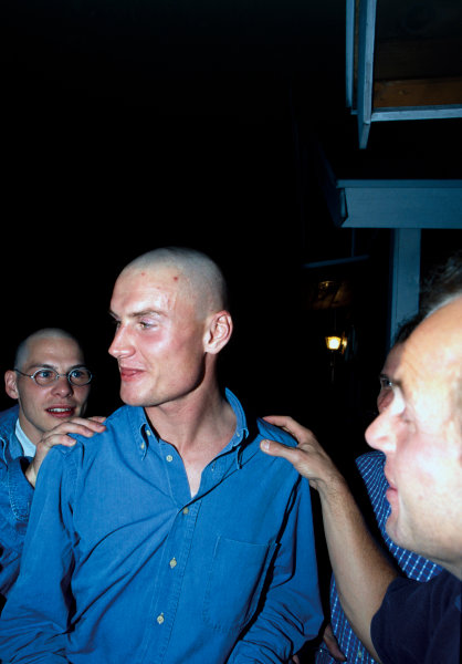 Suzuka, Japan.11-13 October 1996.David Coulthard, Jacques Villeneuve and Mika Salo, all shaved their heads for a post-race party in Suzaka, portrait.World Copyright - LAT Photographic