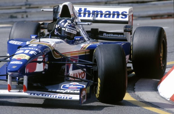1995 Monaco Grand Prix.Monte Carlo, Monaco.25th - 28th May 1995.Damon Hill (Williams FW17 Renault) 2nd position, action.World Copyright: LAT Photographic