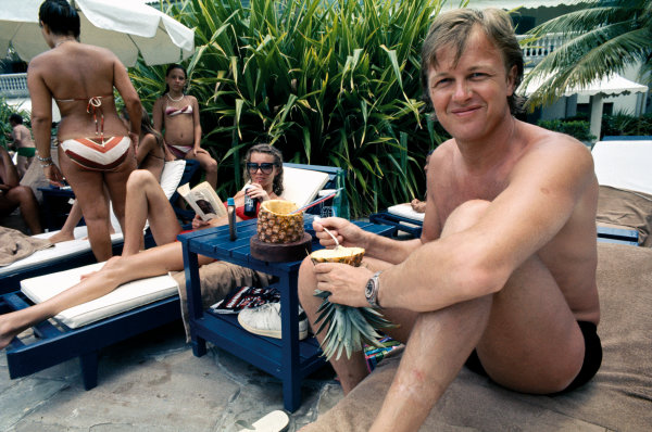 Interlagos, Sao Paulo, Brazil. 21 - 23 January 1977. Ronnie Peterson and his wife Barbro relax at the hotel prior to the Grand Prix, portrait.  World Copyright: LAT Photographic. Ref:  77BRA20