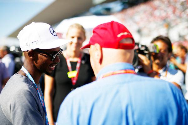 Suzuka Circuit, Japan. Sunday 08 October 2017. Sir Mo Farah with Niki Lauda, Non-Executive Chairman, Mercedes AMG. World Copyright: Andy Hone/LAT Images  ref: Digital Image _ONZ4012