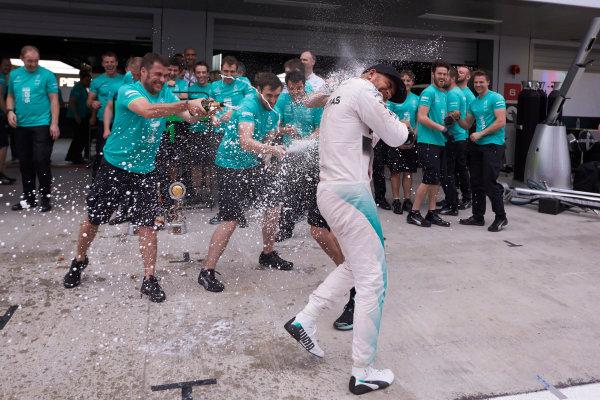 Sochi Autodrom, Sochi, Russia. Sunday 11 October 2015. Lewis Hamilton, Mercedes AMG, 1st Position, and the Mercedes F1 team celebrate victory. World Copyright: Steve Etherington/LAT Photographic ref: Digital Image SNE12152