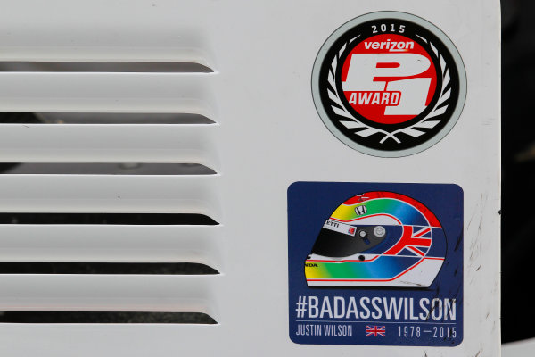 28-30 August, 2015, Sonoma, California USA Justin Wilson tribute decal on Will Powers car ?2015, Ernie Masche LAT Photo USA