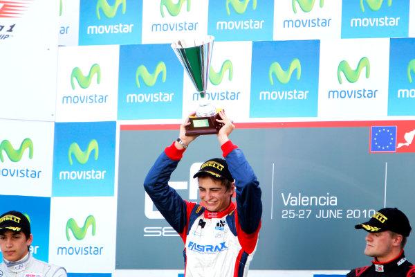 Round 3. Valencia, Spain. 27th June 2010.Sunday Race.Nico Muller, (Sui, Jenzer Motorsport) celebrates on the podium with Roberto Merhi, (ESP, Atech CRS GP) and James Jakes, (GBR, Manor Racing).Portrait. World Copyright: Glenn Dunbar/GP3 Media Service.Digital Image _G7C0777