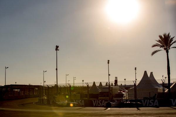 2016/2017 FIA Formula E Championship. Marrakesh ePrix, Circuit International Automobile Moulay El Hassan, Marrakesh, Morocco. Saturday 12 November 2016. Jerome D'Ambrosio (BEL), Dragon Racing, Spark-Penske, Penske 701-EV, leads Loic Duval (FRA), Dragon Racing, Spark-Penske, Penske 701-EV.  Photo: Zak Mauger/Jaguar Racing ref: Digital Image _L0U7594
