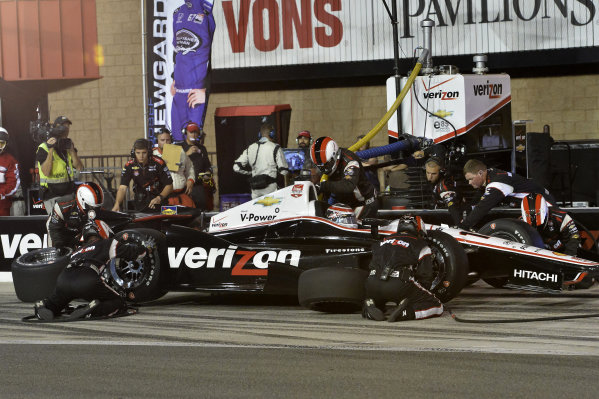 Will Power (AUS) Team Penske, makes a pit stop.
