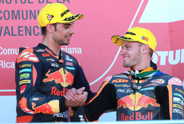2017 Moto2 Championship - Round 18 Valencia, Spain  Sunday 12 November 2017 Podium: Race winner Miguel Oliveira, Red Bull KTM Ajo, Brad Binder, Red Bull KTM Ajo  World Copyright: Gold and Goose Photography/LAT Images  ref: Digital Image 706485