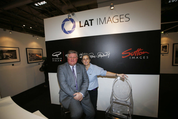 Autosport International Exhibition. National Exhibition Centre, Birmingham, UK. Saturday 13th January, 2018. Tim Wright and Fiona Fallon on the LAT stand. World Copyright: Joe Portlock/LAT Images Ref: _L5R0203