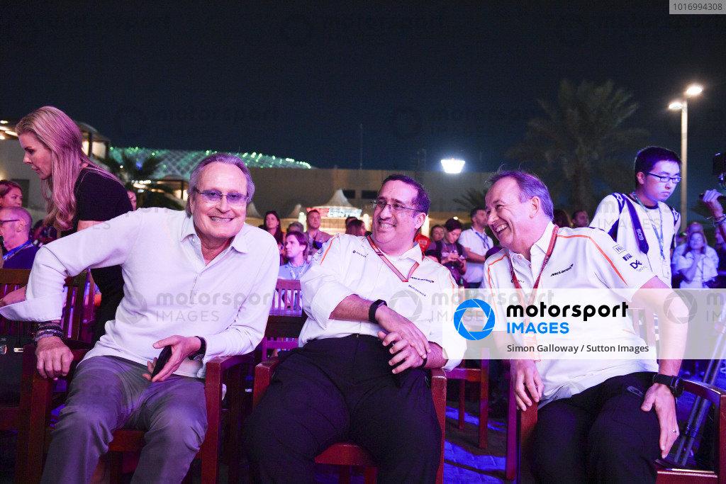 (L to R): Mansour Ojjeh, TAG, Sheikh Mohammed bin Essa Al Khalifa, CEO of the Bahrain Economic Development Board and McLaren Shareholder and Jonathan Neale, McLaren Managing Director