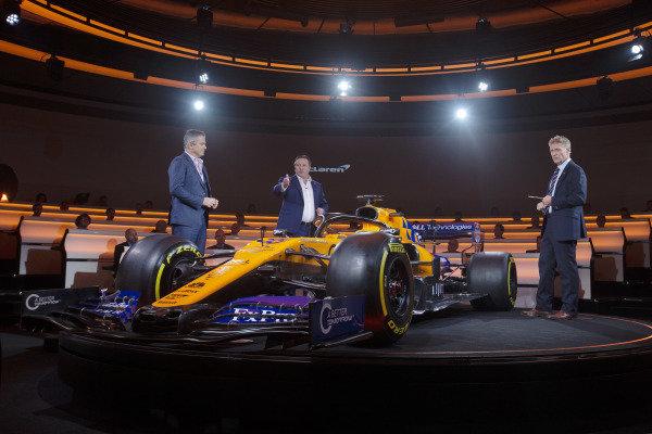 Gil De Ferran, McLaren Sporting Director and Zak Brown, McLaren Racing CEO talk with Simon Lazenby, Sky TV about the new McLaren MCL34