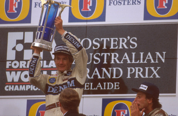 Adelaide, Australia.3-5 November 1989.Thierry Boutsen (Williams Renault) 1st position and teammate Riccardo Patrese on the podium.Ref-89 AUS 01.World Copyright - LAT Photographic