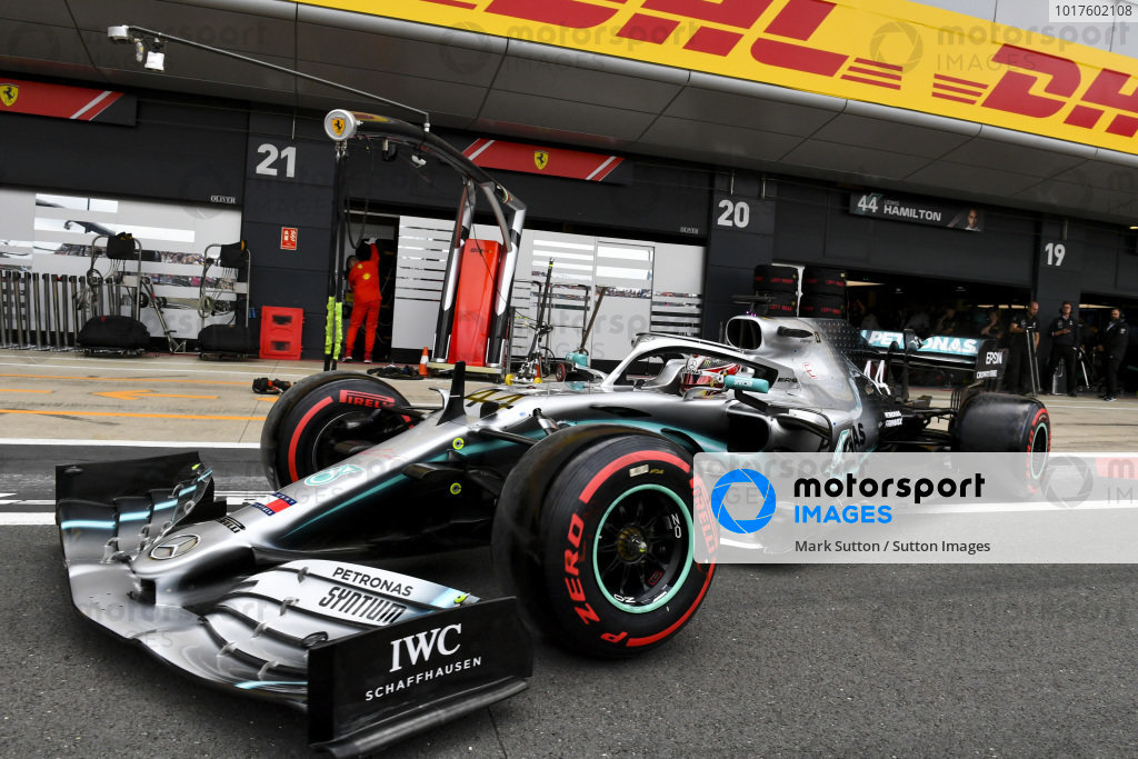 Lewis Hamilton, Mercedes AMG F1 W10 in the pit lane