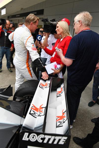 Mika Hakkinen at Legends F1 30th Anniversary Lap Demonstration