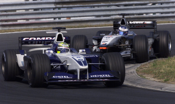 2001 Hungarian Grand PrixHungaroring, Hungary. 19th August 2001.Ralf Schumacher, BMW Williams FW23, leads Mika Hakkinen, West McLaren Mercedes MP4/16, action.World Copyright: Steve Etherington/LAT Photographic.ref: 13 5mb Digital Image Only