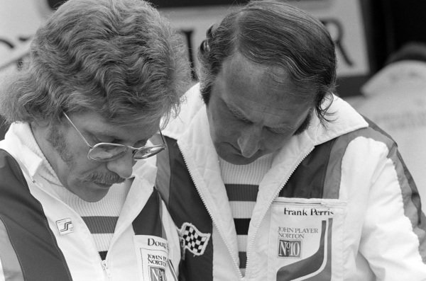 Frank Perris and Doug of the John Player Norton team.