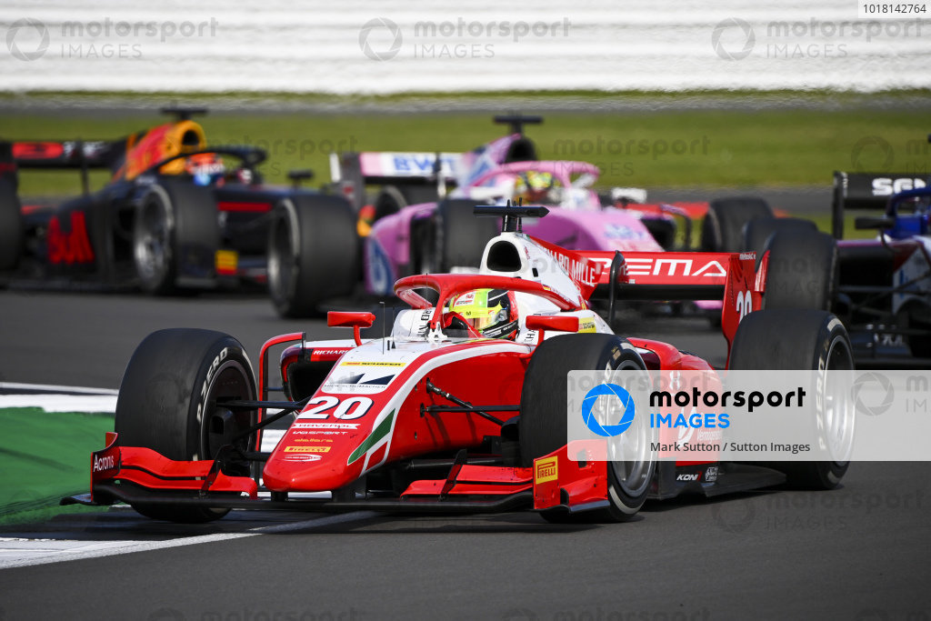 Mick Schumacher (DEU, PREMA RACING) , leads Louis Deletraz (CHE, CHAROUZ RACING SYSTEM), and Artem Markelov (RUS, BWT HWA RACELAB)