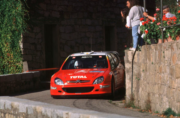 2001 FIA World Rally ChampsRallye de France, Ajaccio, Corsica, 18th-21st October 2001.Jesus Puras in the Citreon, action.World Copyright:LAT Photographic/McKlein.ref: 35mm Image A02