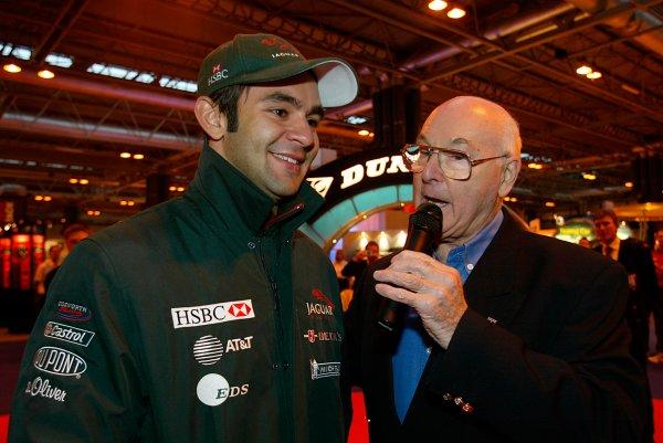 2003 Autosport International.Antonio Pizzonia and Murray Walker.NEC, Birmingham, England.9-12th January 2003.World Copyright: Spinney/LAT Photographic.Ref.:Digital Image Only.