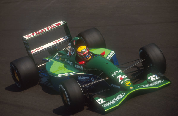 1991 Italian Grand Prix.Monza, Italy.6-8 September 1991.Roberto Moreno (Jordan 191 Ford) at Parabolica. He exited the race on lap 3 after a spin with brake problems. This was his first drive for Jordan, after being disposed of by Benetton who had stolen Michael Schumacher.Ref-91 ITA 14.World Copyright - LAT Photographic
