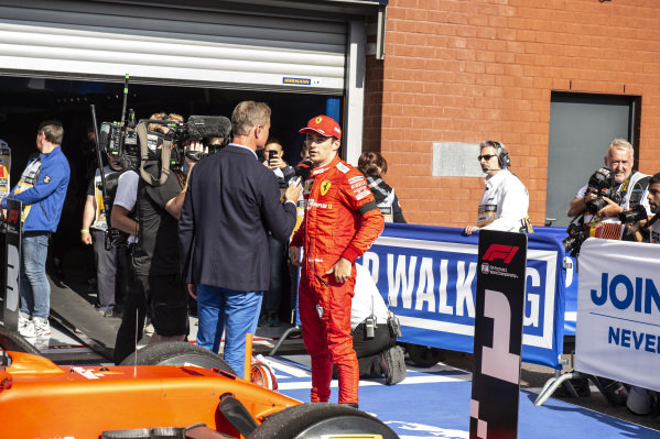 Charles Leclerc, Ferrari, 1st position, is interviewed by Presenter David Coulthard