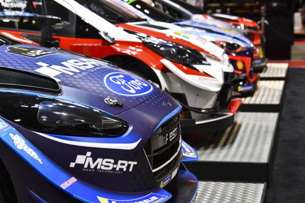 Ford, Toyota, Hyundai and Citroen WRC cars.