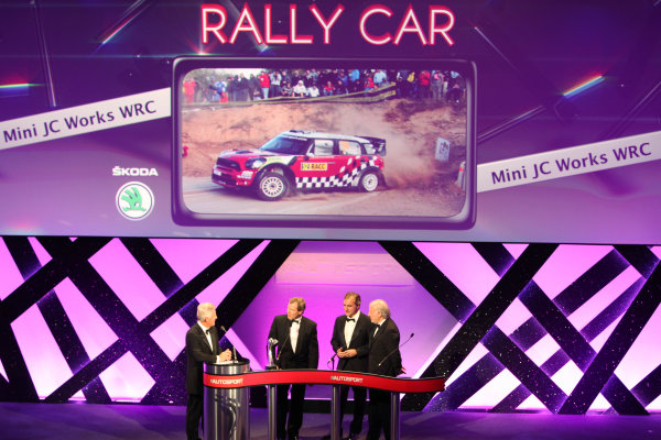 Grosvenor House Hotel, Park Lane, London 4th December 2011 David Richards and Dr Kay Segler accept the Rally Car of the Year award on behalf of the Mini John Cooper Works WRC from Carlos Sainz on the stage.World Copyright: Glenn Dunbar/LAT Photographic ref: Digtal Image GD5D0282