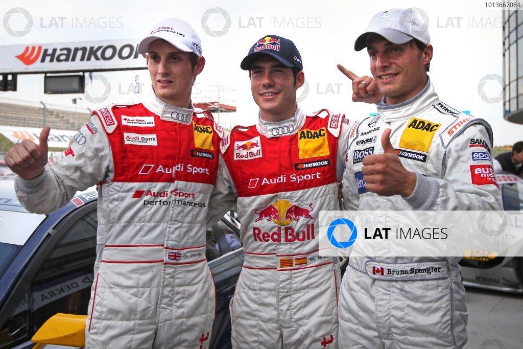 Top three qualifiers: Miguel Molina (ESP), Audi Sport Team Abt Junior, Red Bull Audi A4 DTM (2008) (pole position), centre; Bruno Spengler (CDN), Mercedes-Benz Bank AMG C-Klasse (2009) (2nd), right; Oliver Jarvis (GBR), Audi Sport Team Abt, Audi Performance A4 DTM (2009) (3rd), left.DTM, Rd8, Oschersleben, Germany, 16-18 September 2011 Ref: Digital Image dne1117se506