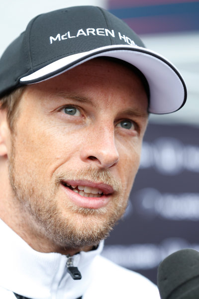 Red Bull Ring, Spielberg, Austria. Thursday 18 June 2015. Jenson Button, McLaren, talks to the press. World Copyright: Alastair Staley/LAT Photographic. ref: Digital Image _R6T6778