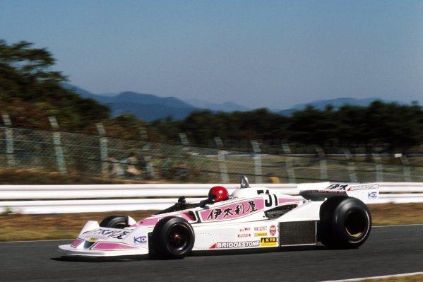 Noritake Takahara (JPN) Kojima KE009 crashed out on the opening lap of the race. Japanese Grand Prix, Rd 17, Mount Fuji, Japan, 23 October 1977. DIGITAL IMAGE